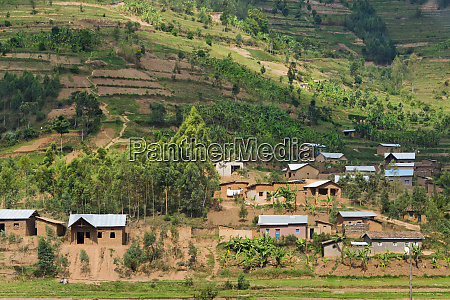 farmland and village in the mountain