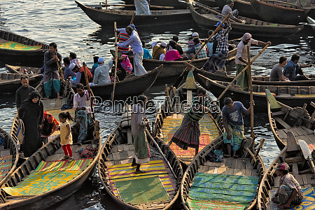 ferry boats on buriganga river at