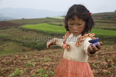 young chinese girl with dress in