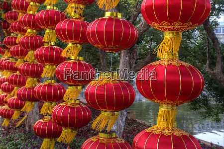 chinese lanterns along the walkway greenlake