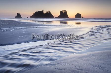 twilight over shi shi beach sea
