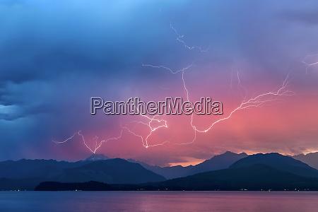 usa washington state seabeck lightning over