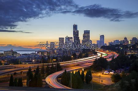 usa washington state seattle sunset view