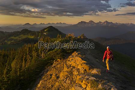 usa washington state man hiking at