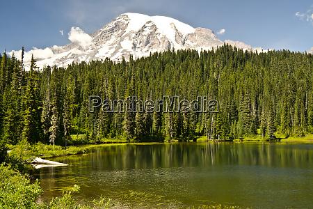 mount rainier and reflection lake mount