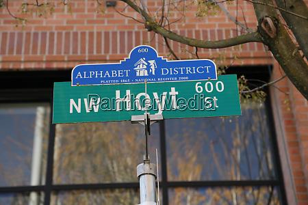 usa oregon portland street sign in