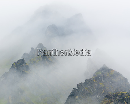 usa alaska talkeetna mountains in fog