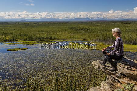 usa alaska moose pond woman hiker