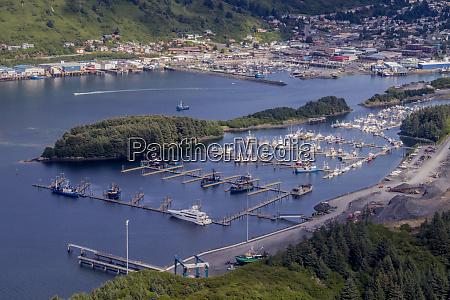 usa alaska kodiak aerial view of