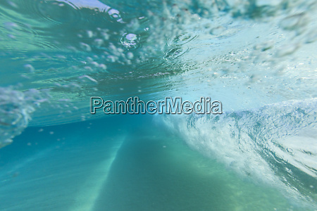 fisheye view of wave breaks at