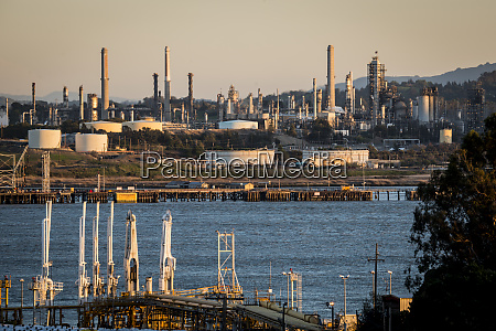 usa california benicia refineries on carquinez