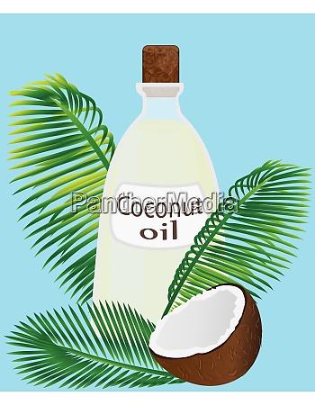 kokosoel in einem glas die haelfte