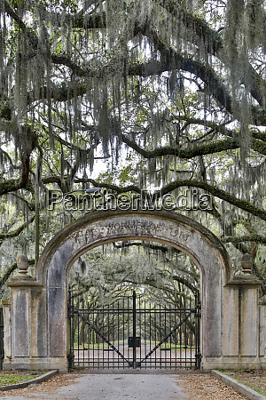 usa georgia savannah wormsloe gate at
