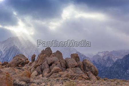 usa california alabama hills storm clouds