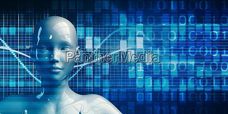 weiblicher, roboter, mit, data, analytics-technologie - 27836904