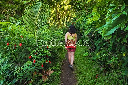 woman hiking the onomea bay trail