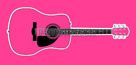 rosa akustische gitarre ueber rosa hintergrund