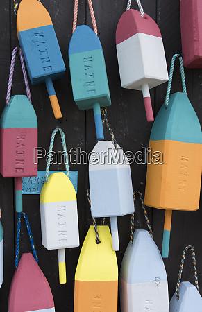 bar harbor maine colorful buoys on