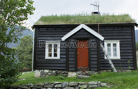 laerdal norwegen gras dachhaus in bergen