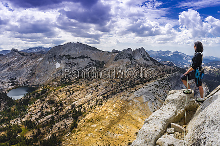 climber on cathedral peak tuolumne meadows
