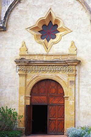 main entrance at mission san carlos