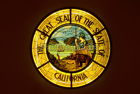 stained glass seal of california inside