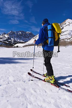 backcountry skier at north lake inyo