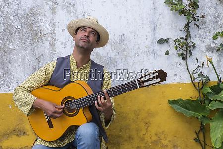 portugal a street musician in obidos