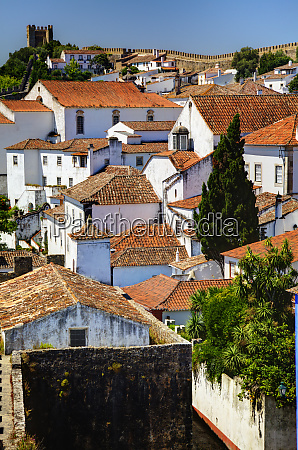 portugal obidos elevated view of the