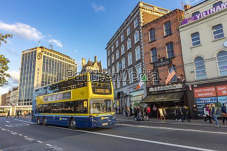 double decker bus in downtown dublin