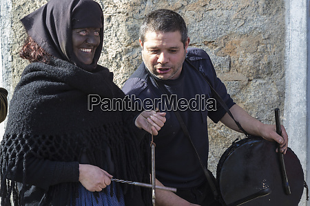 italy sardinia gavoi woman covered in