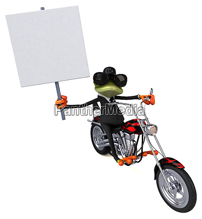spass frosch auf einem motorrad