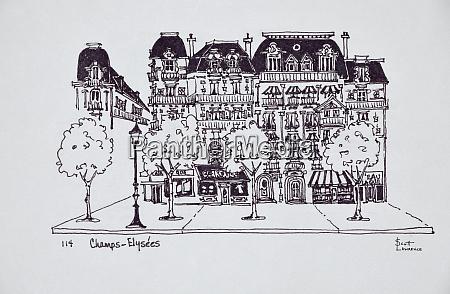 haussmann architecture along champs elysees paris