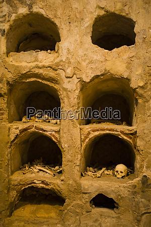 human skeleton roman catacombs cartagena spain