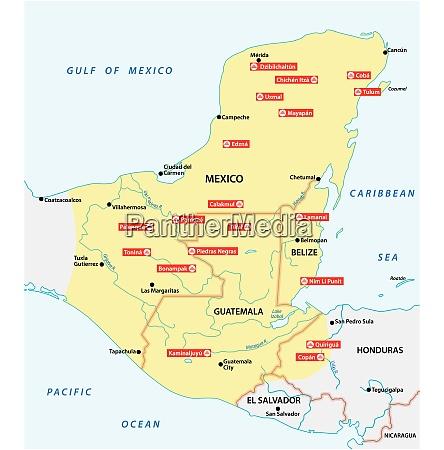 karte des maya imperiums mit den