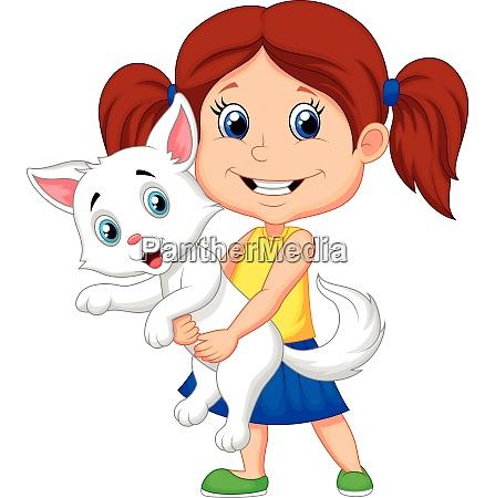 cartoon little boy holding a cute