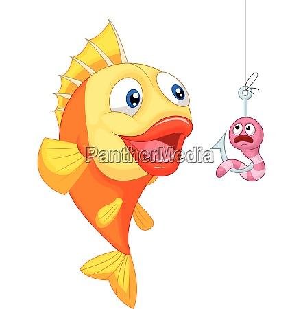 veraengstigter wurm mit hungrigen fischen