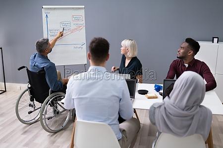 deaktiviert businessman giving presentation