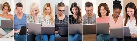 menschen einkaufen auf laptops collage