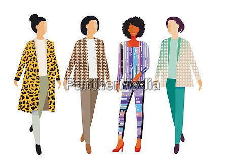 vier mode frauen illustration