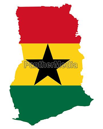 fahne in landkarte von ghana