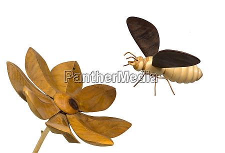 modell einer holzseibe fliegt auf eine
