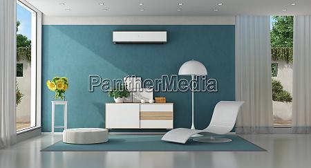 modernes blaues wohnzimmer einer modernen villa