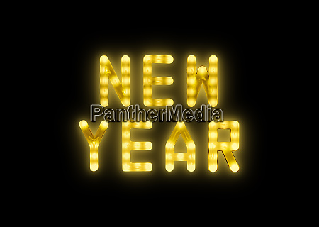 yellow neon glowing led new year