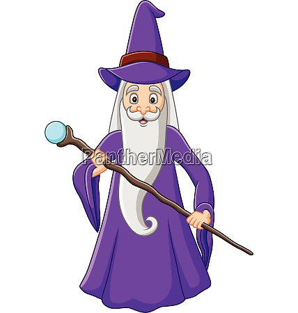 cartoon alten zauberer haelt magischen stick