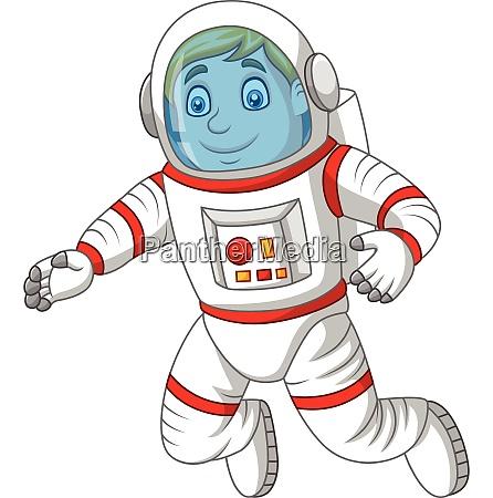 cartoon astronaut isoliert auf weissem hintergrund