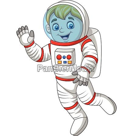 cartoon astronaut winkende hand