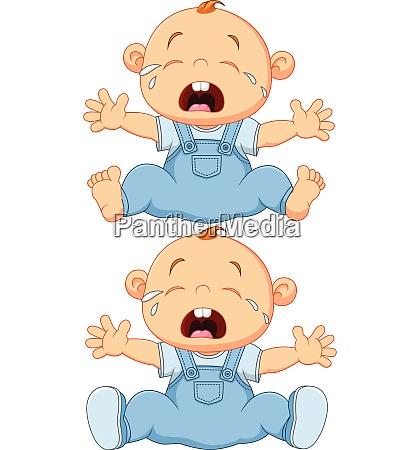 cartoon weinenbaby zwillinge isoliert auf weissem