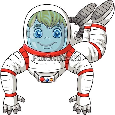 cartoon, astronaut, fliegen, isoliert, auf, weißem - 27974570