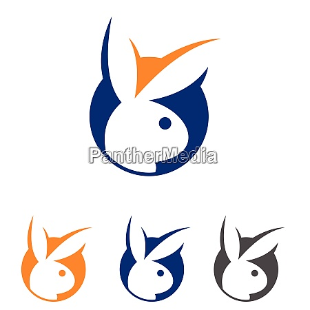 funny rabbit logo concept cute rabbit